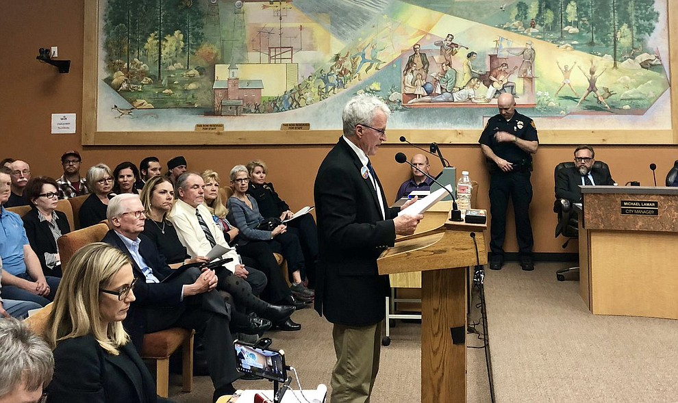 "Tom Rusing of #SaveTheDells asks #PrescottCityCouncil to endorse the organization's push for 500-acre park at #PointofRocks: ""History will judge us,"" he said. (Cindy Barks/Courier)"