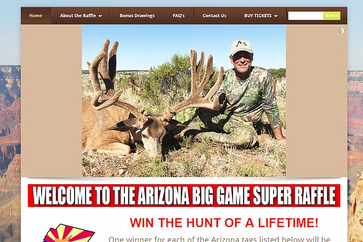 Proceeds raised for each species through the raffle is returned to the department and managed by the Arizona Habitat Partnership Committee for that particular species. (Screenshot/Arizona Big Game Super Raffle website)