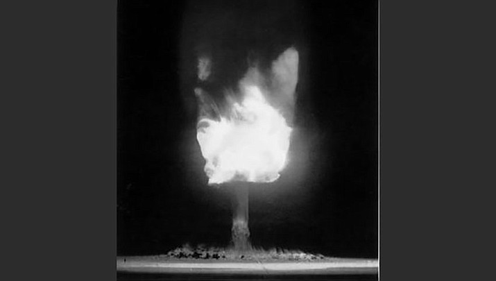 An atomic bomb explosion at Frenchman's Flat, Nevada in 1951. (U.S. Army photo via Harry S. Truman Library & Museum)