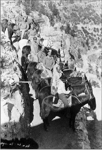 Enlisted men on leave ride mules down the Bright Angel trail circa 1941-1944. (Photo/Grand Canyon National Park Museum Collection)