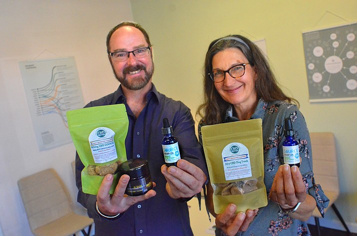 Edward Gordon and Aalia Kazan have opened CBD Sedona in the Harkins Movie Theater mall. They sell CBD products such as oil, balm, skin lotion, leaf and doggy treats.