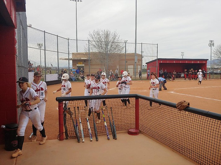 Bradshaw Mountain's softball team walks off the infield after trouncing Mingus, 11-1, in a run-ruled five innings Thursday, March 28, at the Bears' campus field in Prescott Valley. The Bears and Marauders are tied atop the Grand Canyon region standings at 5-1. (Doug Cook/Courier)