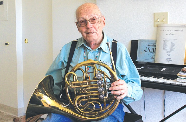 Paul Rosenfeld, 87, is a French horn player for the Cottonwood Community Band. The Cottonwood resident refrains from tooting his own horn too much, but his lifelong musical career is nothing to scoff at. VVN/Kelcie Grega
