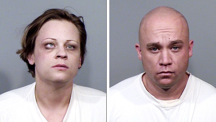 Renee Cassie Hall, left, and Andrew Busch, were arrested in Cordes Lakes on Sunday, March 24, after both were found with a variety of drugs, forged driver's licenses and blank credit cards. (YCSO/Courtesy)