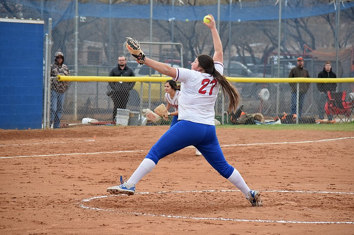 Camp Verde junior Jacy Finley pitches at home earlier in the season. VVN/James Kelley