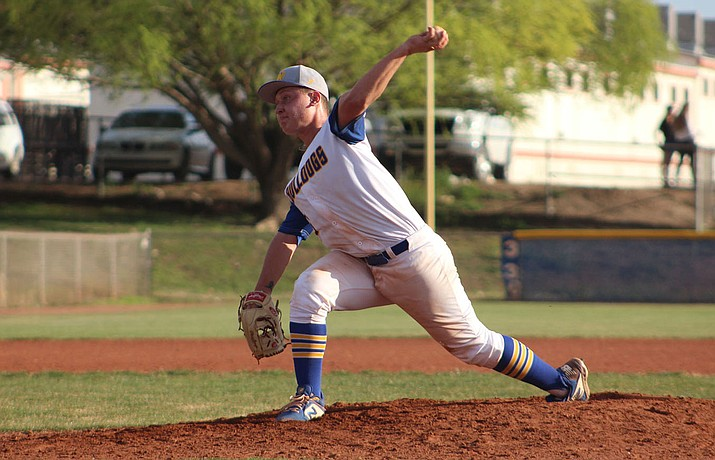 Kingman's Rilee Araya was dominant on the mound Saturday as the senior struck out 11 in a 7-1 victory against Northwest Christian. (Daily Miner file photo)