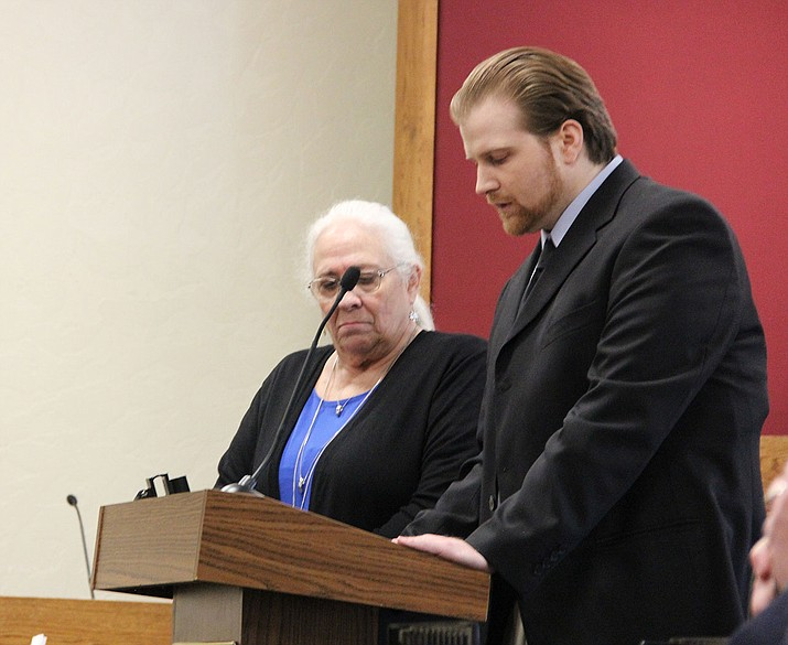 Kenneth Wayne Thompson II delivers an allocution Wednesday, March 27, during his murder trial at the Yavapai County Superior Court in Prescott. Standing next to him is mitigation specialist Mary Durand. (Max Efrein/Courier)