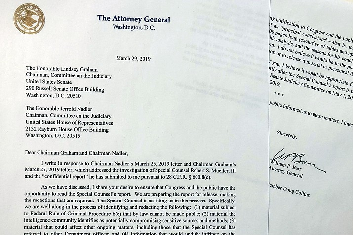 The letter that Attorney General William Barr sent to Congress on Friday, March 29, 2019, is photographed in Washington. Barr told Congress to expect a version of special counsel's Russia report by mid-April. (Wayne Partlow/AP)