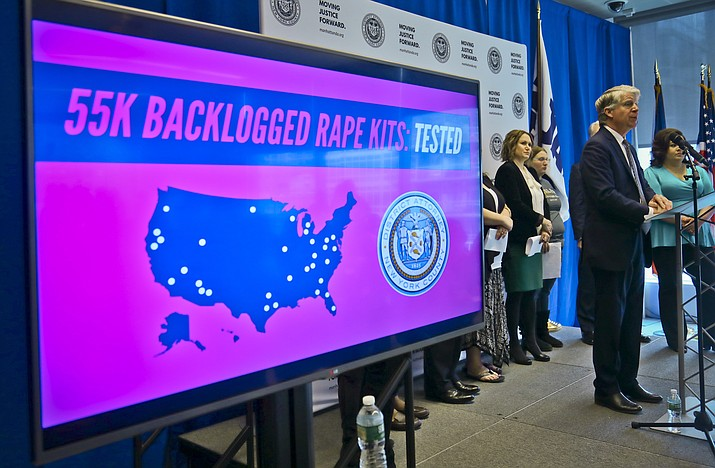 Manhattan District Attorney Cyrus Vance, second from right, holds a press conference, Tuesday March 12, 2019, in New York. Vance released results of a $38 million national initiative to help law enforcement agencies perform DNA tests on evidence in thousands of languishing rape cases, including some in Arizona. (Bebeto Matthews/AP)
