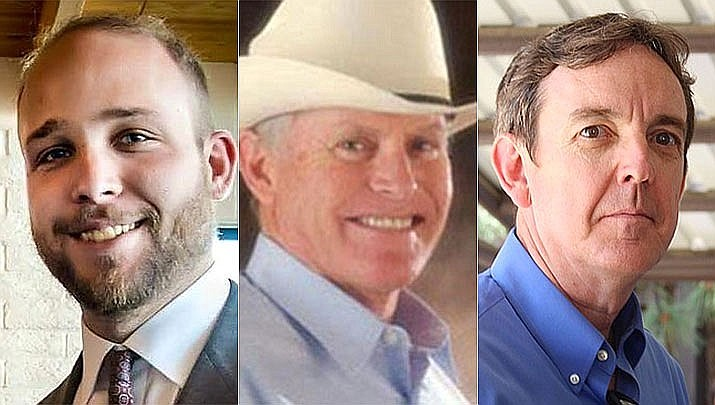 GOP field organizer Steven Sensmeier, left, former Arizona Senate President Steve Pierce, middle, and former Arizona Secretary of state Ken Bennett were selected out of a field of 11 candidates by a voting process that took place Sunday, March 31, 2019, by the Yavapai County Republican Precinct Committeemen. The seat for Legislative District 1 is empty after Rep. David Stringer resigned last week. (courtesy photos)