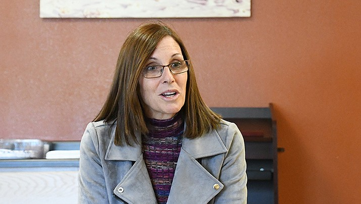 Before heading to tour Hoover Dam on Saturday, March 30, U.S. Senator Martha McSally, R-Arizona, made a stop in Kingman at the Powerhouse to talk with the mayors of Mohave County. (Photo by Claire Whitley/Daily Miner)