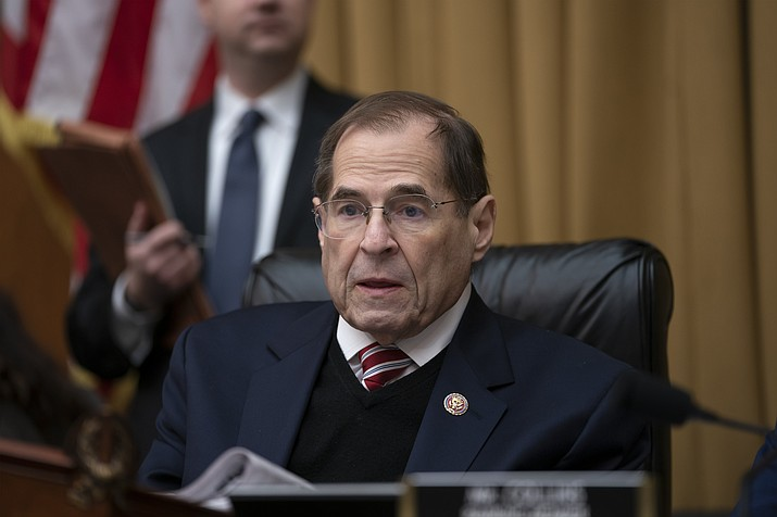 In this March 26, 2019 photo, House Judiciary Committee Chairman Jerrold Nadler, D-N.Y., presides at a meeting directing the attorney general to transmit documents to the House of Representatives relating to the actions of former Acting FBI Director Andrew McCabe, on Capitol Hill in Washington.  (AP Photo/J. Scott Applewhite)