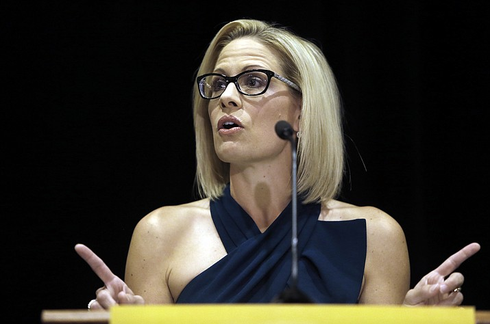 U.S. Sen. Kyrsten Sinema, D-Ariz., speaks after being declared the winner over Republican challenger U.S. Rep. Martha McSally in 2018. Sinema has issued to the USFS a request for proposals to thin National Forest Service land in Arizona. (AP Photo/Rick Scuteri)