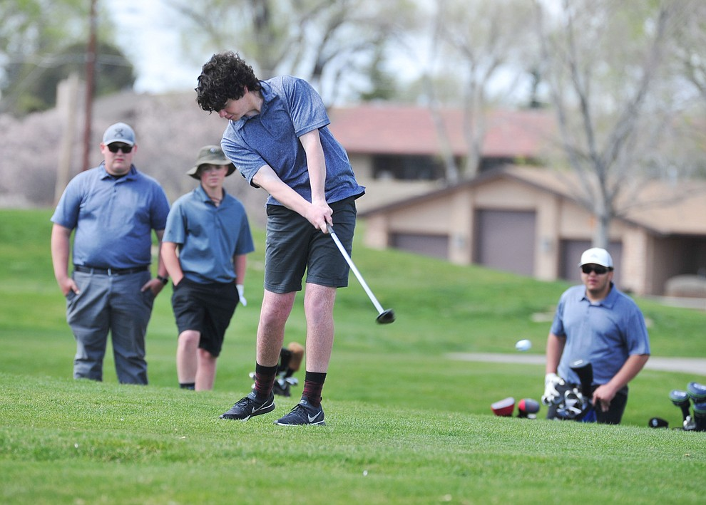 Bagdad's Roman Anthis tees off as Chino Valley hosted a four-team match Tuesday, April 2 in Prescott. (Les Stukenberg/Courier)