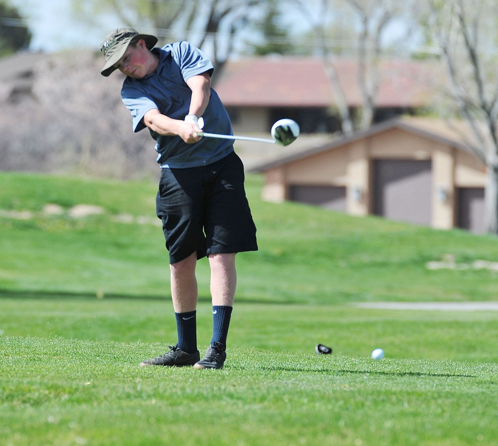 Bagdad's Cecil Brower tees off as Chino Valley hosted a four-team match Tuesday, April 2 in Prescott. (Les Stukenberg/Courier)