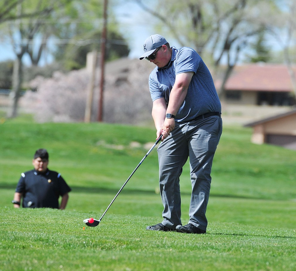 Bagdad's Brayden Keil tees off as Chino Valley hosted a four-team match Tuesday, April 2 in Prescott. (Les Stukenberg/Courier)