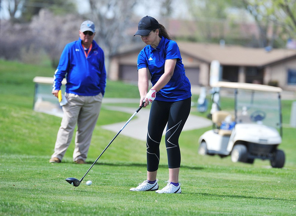 Bagdad's Vanessa Anthis tees off as Chino Valley hosted a four-team match Tuesday, April 2 in Prescott. (Les Stukenberg/Courier)