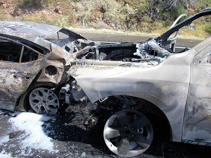 Two vehicles involved in a pileup on northbound Interstate 17 Monday morning, April 1, were destroyed by fire. (Arizona Department of Transportation/Courtesy)