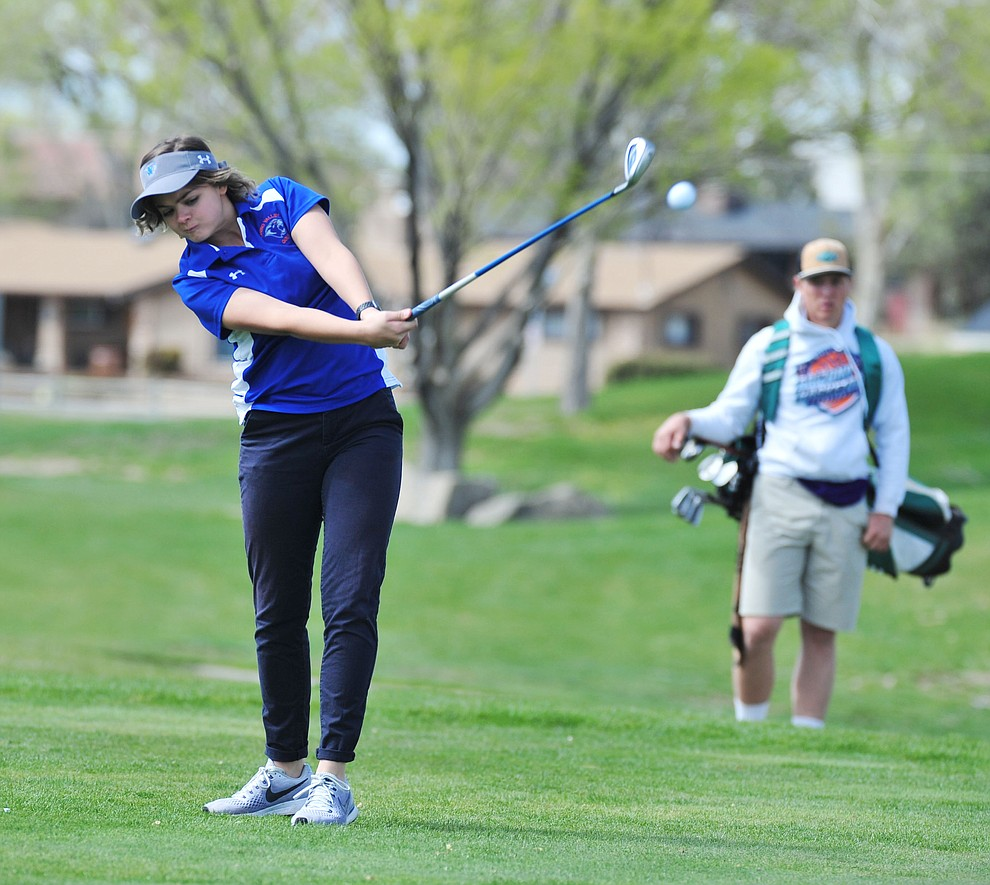 Chino Valley's Coury Hawks tees off as Chino Valley hosted a four-team match Tuesday, April 2 in Prescott. (Les Stukenberg/Courier)