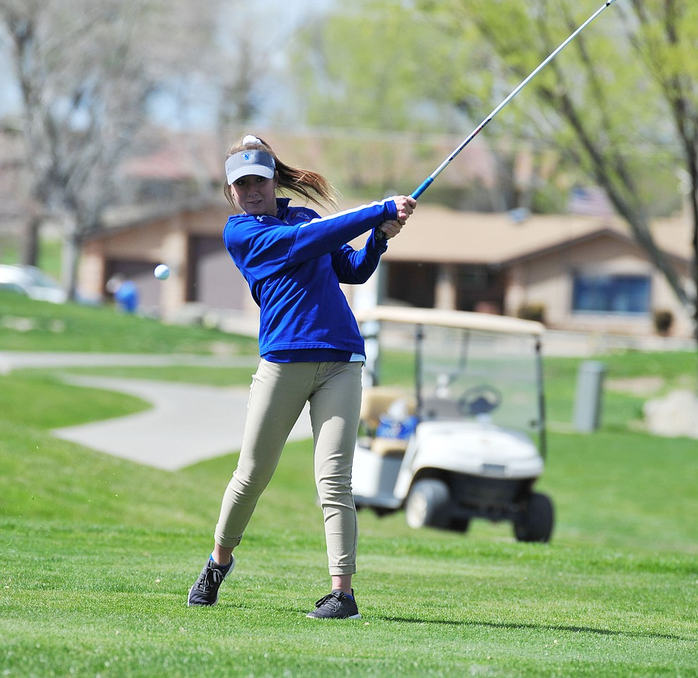 Chino Valley's Jessica Krough tees off as Chino Valley hosted a four-team match Tuesday, April 2 in Prescott. (Les Stukenberg/Courier)