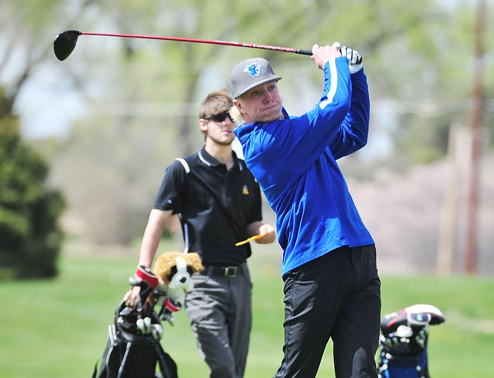 Chino Valley's Keller Rock tees off as Chino Valley hosted a four-team match Tuesday, April 2 in Prescott. (Les Stukenberg/Courier)