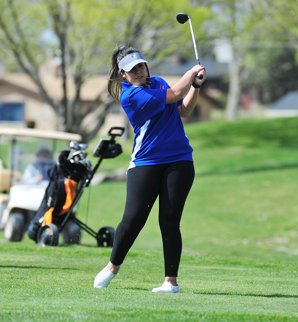 Chino Valley's Crystal Sanchez tees off as Chino Valley hosted a four-team match Tuesday, April 2 in Prescott. (Les Stukenberg/Courier)