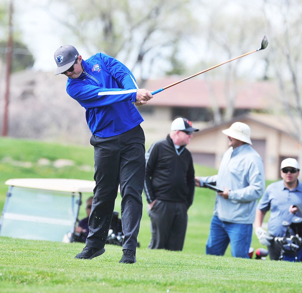Chino Valley's Trevor Stazenski tees off as Chino Valley hosted a four-team match Tuesday, April 2 in Prescott. (Les Stukenberg/Courier)