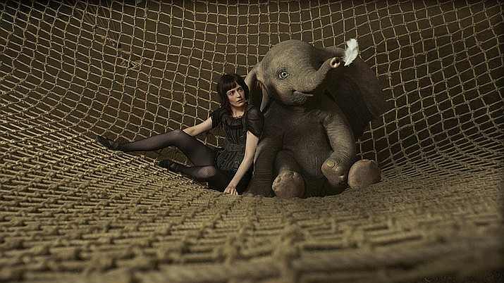 Dumbo is a remake of the 1941 classic about a young elephant, born with oversized ears that serve as wings so he can fly. The original Disney version was an animated film. Here we have a live action production with real people and a good share of CGI material — including the flying pachyderm. (Walt Disney Studios)