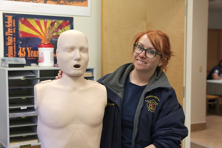 Firefighter Molly Woolley, who teaches Tusayan Fire Department's monthly CPR classes, said all ages can participate and become certified in CPR. (Erin Ford/WGCN)