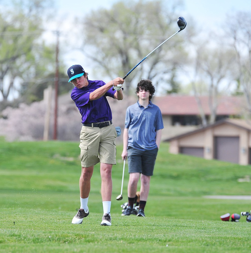 Wickenburg's Kaden Conway's tees off as Chino Valley hosted a four-team match Tuesday, April 2 in Prescott. (Les Stukenberg/Courier)