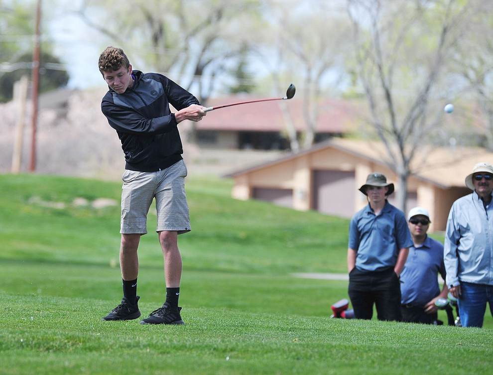Wickenburg's Logan Jones tees off as Chino Valley hosted a four-team match Tuesday, April 2 in Prescott. (Les Stukenberg/Courier)