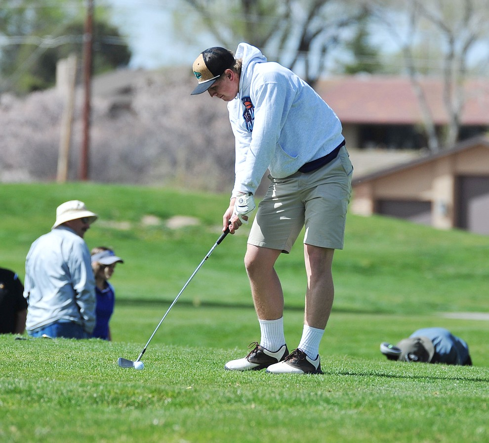 Wickenburg's Jeff Uldrikson tees off as Chino Valley hosted a four-team match Tuesday, April 2 in Prescott. (Les Stukenberg/Courier)