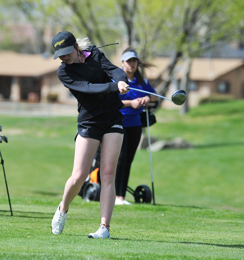 Wickenburg's Bailee Ullery tees off as Chino Valley hosted a four-team match Tuesday, April 2 in Prescott. (Les Stukenberg/Courier)