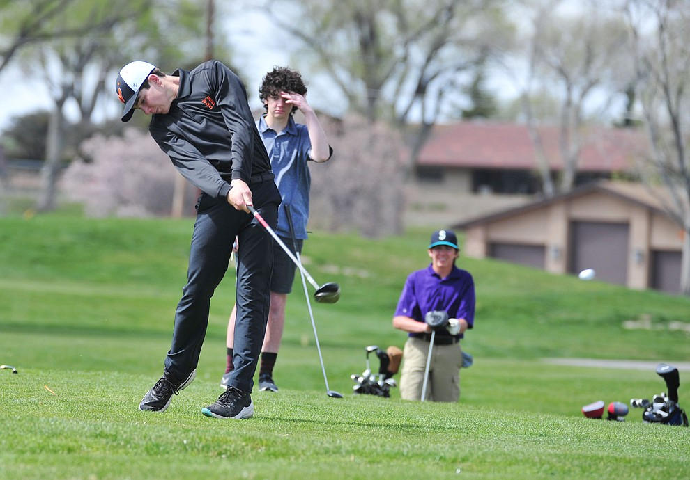 Williams' Levi Burlington tees off as Chino Valley hosted a four-team match Tuesday, April 2 in Prescott. (Les Stukenberg/Courier)