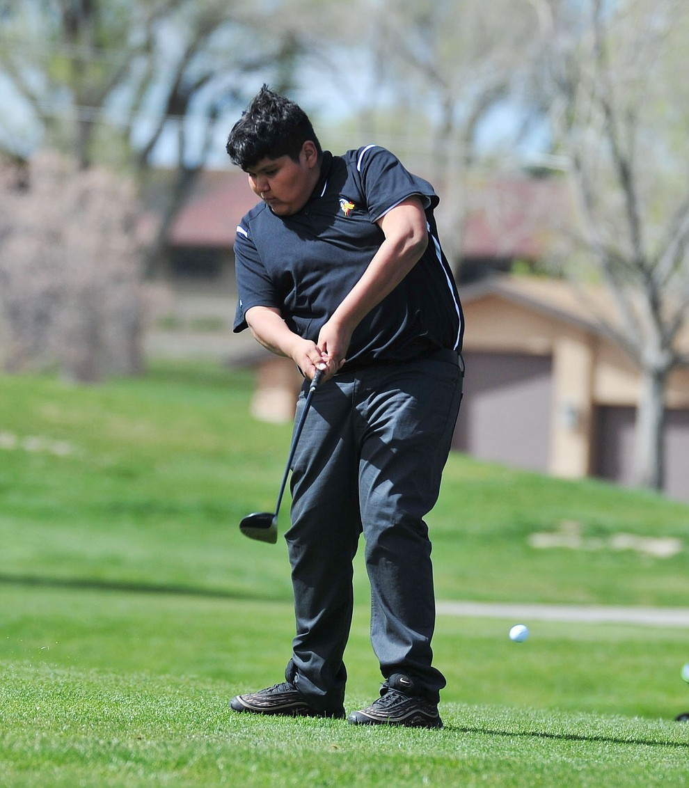 Williams' Michael Sanders tees off as Chino Valley hosted a four-team match Tuesday, April 2 in Prescott. (Les Stukenberg/Courier)