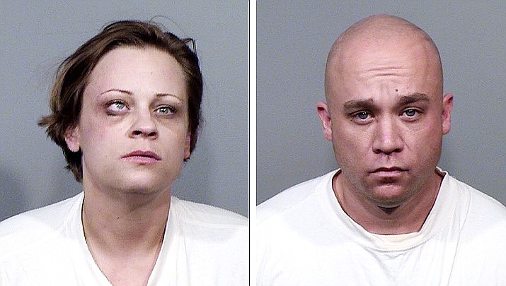 Renee Cassie Hall, left, and Andrew Busch, were arrested in Cordes Lakes, Arizona March 24, after both were found with a variety of drugs, forged driver's licenses and blank credit cards. (YCSO/Courtesy)