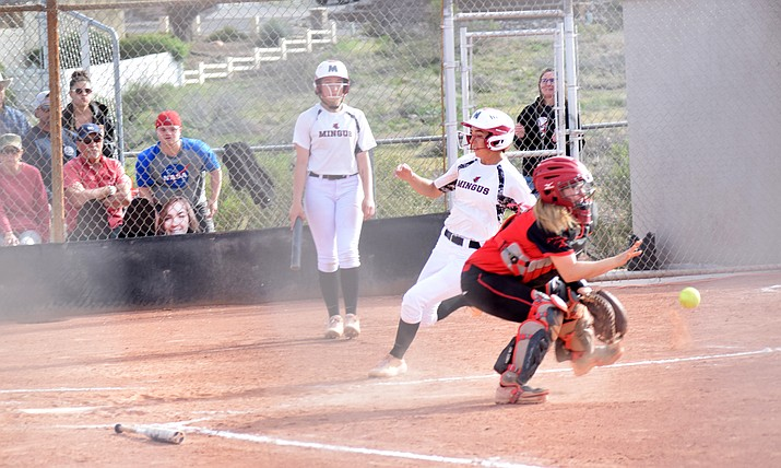 Mingus senior Maddie Bejarano scores during the Marauders' 3-2 win over Coconino at home on Tuesday. VVN/James Kelley