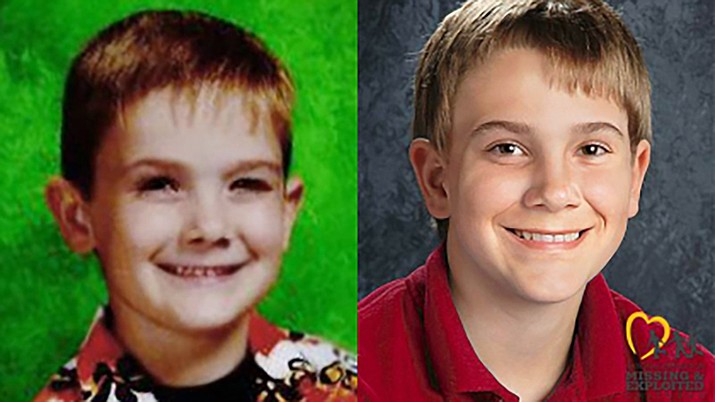 Timmothy Pitzen was 6 years old when he disappeared in 2011. An age-progressed image from the National Center for Missing and Exploited Children, released in 2018, shows how he would look at age 13. (Source: Aurora Police/National Center for Missing and Exploited Children)