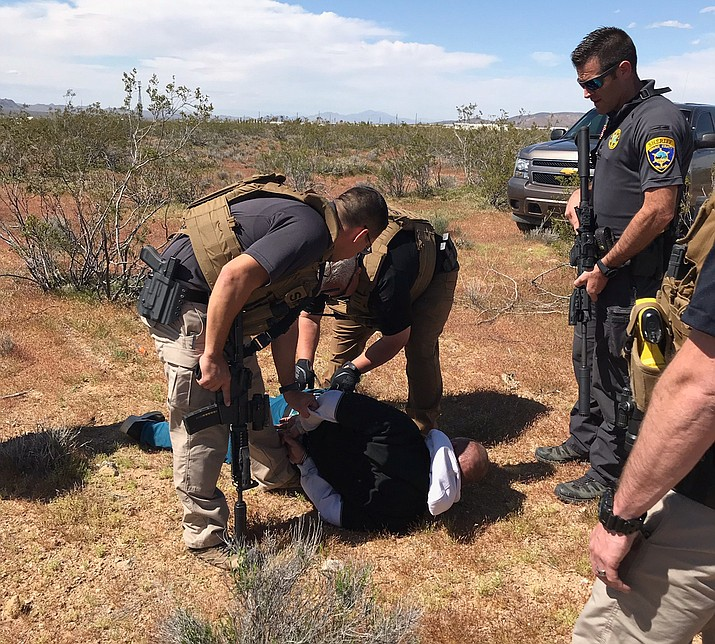 Wendell Wayne Odom II is pictured in this April 4, 2019 arrest photo provided by Mohave County Sheriff's Office. MCSO said Friday he was arrested after shooting at sheriff personnel in connection to a Dolan Springs burglary. (Mohave County Sheriff's Office photo)