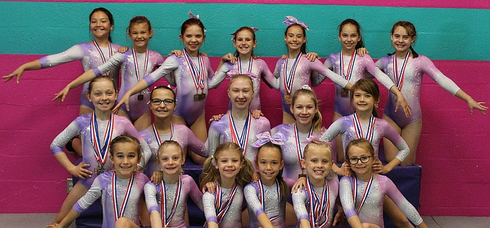 The All Starz recently had seven finish in the top three at the Arizona State Xcel Championships in Glendale. Pictured front row from left, Kadisyn Sandsness, Payton Miller, Bertie Lock, Elizabeth Witt, Kinsley Bahre and Paige Oberlin. Middle row from left, Ava Elsbury, Emma Green, Grace Hoyt, Lilyann Pierstorff and Daylee Brazdys. Back Row from left, Trinity Villegas, Payton Hoague, Kylie Marshall, Emily Wisda, Alauna Ballard, Jasmine Sedarland and Anna Burns. Not pictured: Sarah Fiddler, Cash Proffit, Brooke Slinkard, Aubrie Terlesky and Courtney Witt. (Courtesy)
