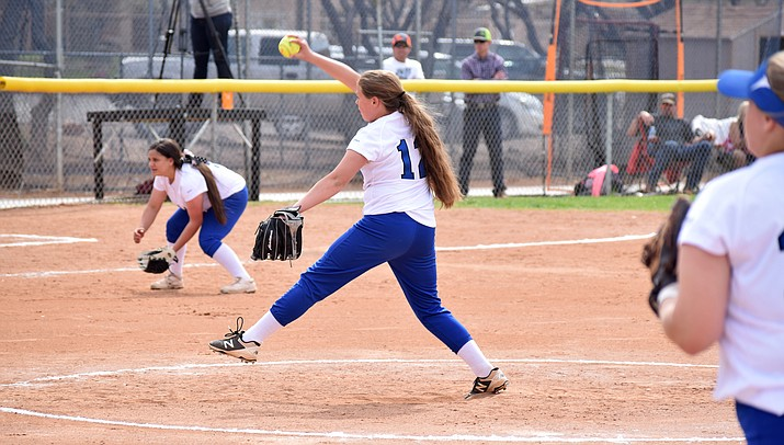 Camp Verde freshman Summer Bast made her high school pitching debut on Thursday during the Cowboys' doubleheader wins over Sedona Red Rock. VVN/James Kelley