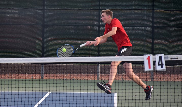 Mingus junior Travis O'Donnal plays in a high school match on Tuesday against Flagstaff. MUHS will host matches in the Oxendale Auto Group Championships in October. VVN/James Kelley