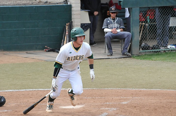 Roughriders second baseman Tommy Sacco was 3 for 3 with a two-run homer in Yavapai College's 10-3 win over Cochise College in Game 2 of an ACCAC doubleheader Saturday, April 6, at Roughrider Park in Prescott. (Doug Cook/Courier)