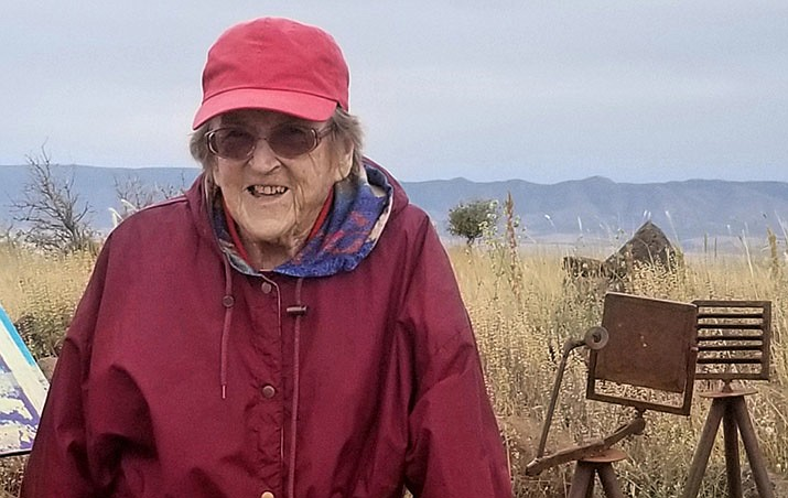 Jean Cross stands at the top of Glassford Hill on her 94th birthday this past September. She was instrumental in proposing the Summit Trail to the peak. (Darcy Morger-Grovenstein/Courtesy/)
