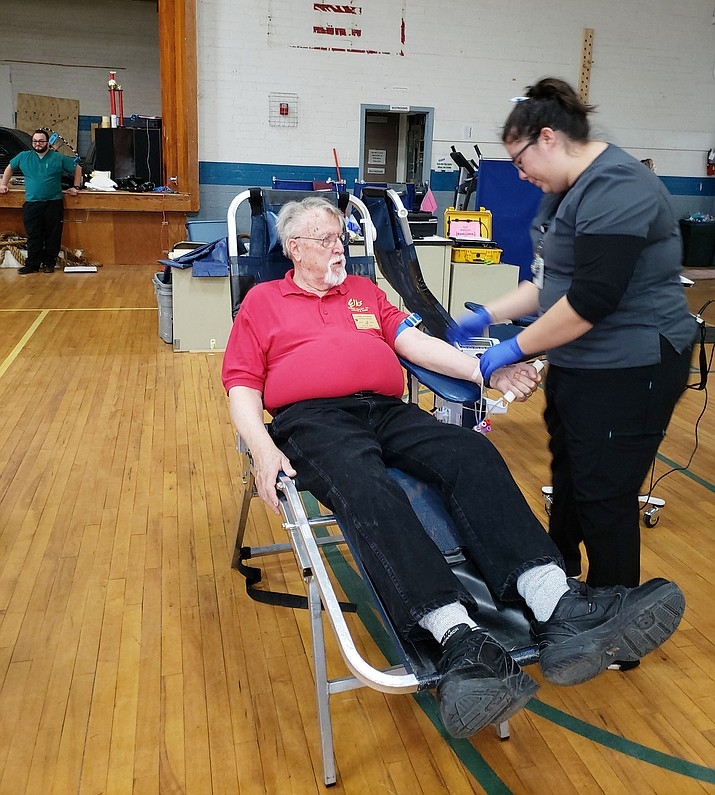 Gerry Ransom donates blood at the blood drive put on by the Chino Valley High School Student Council and Chino Valley Elks Lodge Tuesday, March 26. (Dawn Montelius/Courtesy)