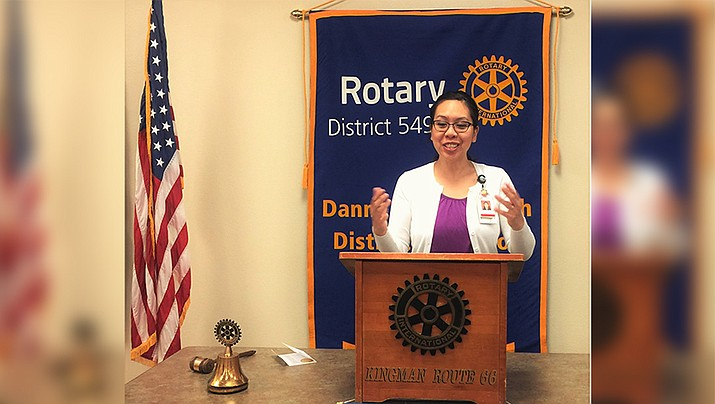 Linda Williams, Kingman Regional Medical Center pharmacist, spoke at the March 22 meeting of the Route 66 Rotary Club. Williams discussed the upcoming Day in the Park, Saturday April 13. (Photo submitted by Jo Ann Oxsen/Kingman Route 66 Rotary Club)