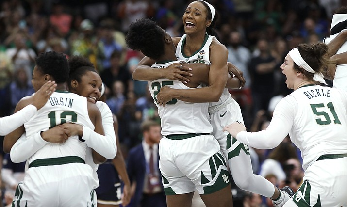 Baylor players celebrate after defeating Notre Dame in the Final Four championship game of the NCAA women's college basketball tournament Sunday, April 7, 2019, in Tampa, Fla. Baylor won 82-21. (Chris O'Meara/AP)