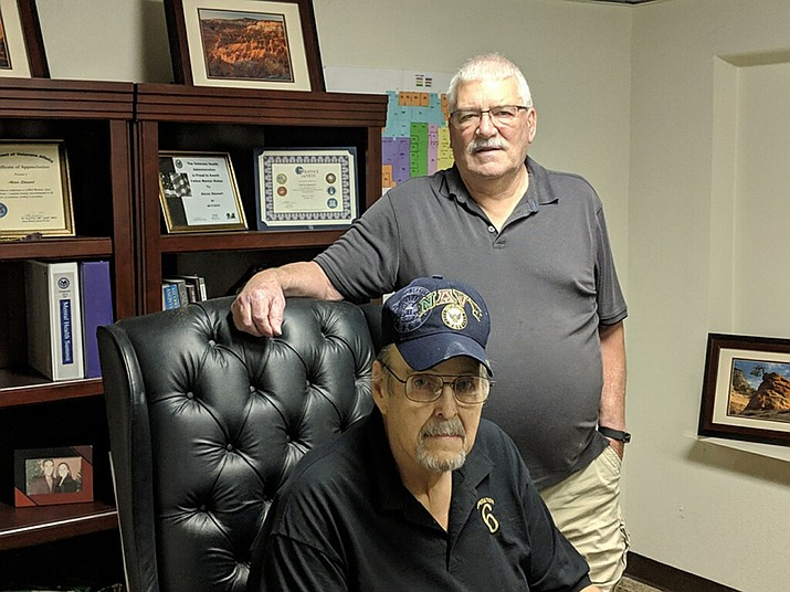 Jerry Ambrose Veterans Council President Pat Farrell (left) and Dick Dobson, JAVC's new navigator who will put veterans in contact with available resources. Farrell will speak at Wednesday's Mohave Republican Forum. (Photo by Travis Rains/Daily Miner)
