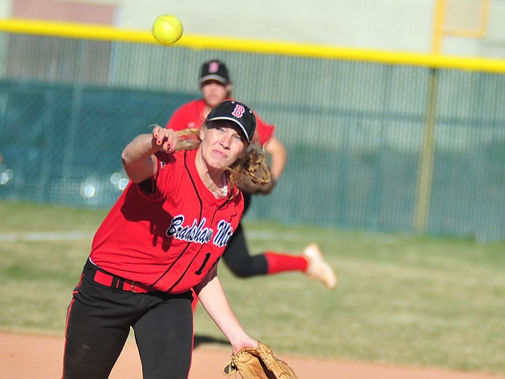 Bradshaw Mountain's Jacie Hambrick throws to first March 25, 2019. Hambrick struck out 16 batters in a 12-0 win for the Bears over rival Prescott on Tuesday, April 9, 2019, in Prescott. (Les Stukenberg/Courier, file)