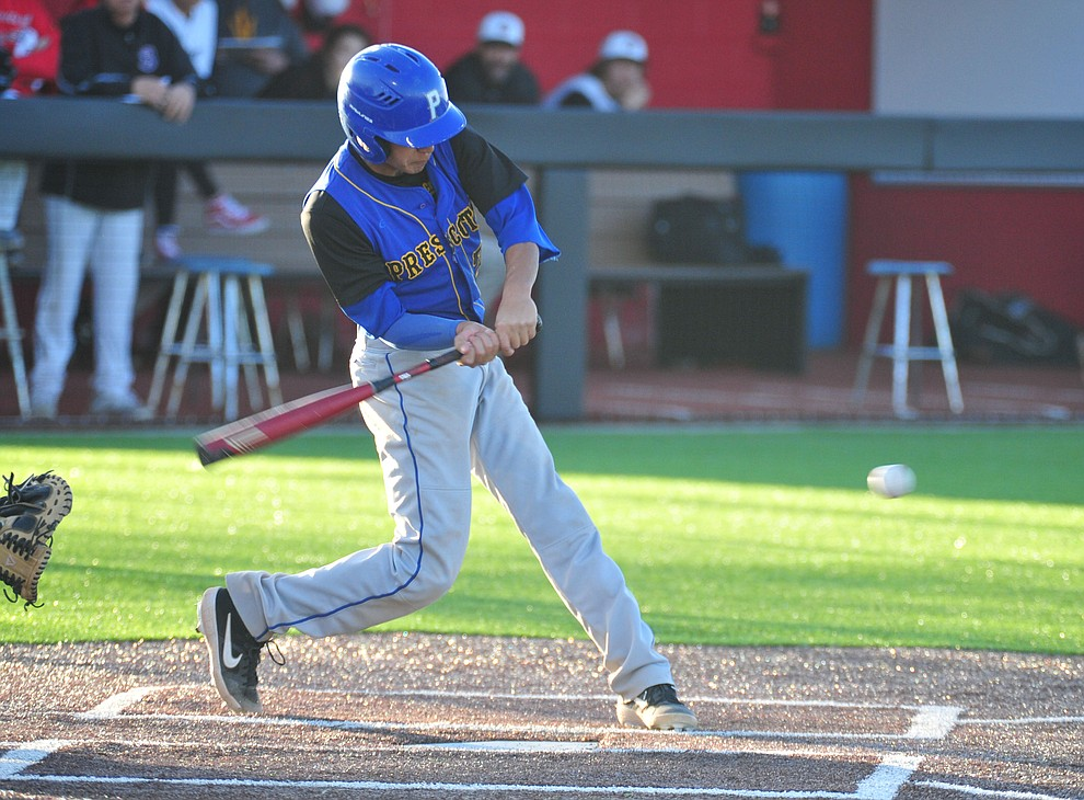 Prescott's Ray Chairez singles as the Badgers take on the Bradshaw Mountain Bears in Prescott Valley Tuesday, April 9.  (Les Stukenberg/Courier)